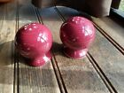 2 Fiesta Homerlaghlin China Co. Pair Ball Salt & Pepper Shakers Claret F-341