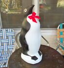 Vintage Blow Mold Penguin Red Christmas Bow Union Christmas Yard Decor