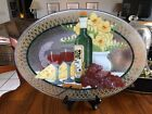 SIGNED RETIRED PEGGY KARR Large FUSED GLASS Platter 135 x 85 Wine Cheese EUC