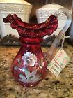Fenton Art Glass Country Cranberry Pitcher Ruffled Top Handpainted Pansies