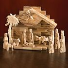 NATIONAL GEOGRAPHIC HOLY LAND OLIVE WOOD NATIVITY SET 12 PC HAND CARVED MCM