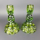 Vintage L.E.SMITH Green Moon And Stars Candle Stick Holders 6 1/2