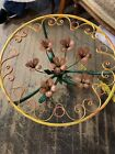 VTG Pair Italian Gold Gilt Tole Side End Table Bouquet of Roses With Glass Top