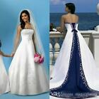 White And Blue Satin Beach Wedding Dresses Strapless Embroidery Bridal Ball Gown