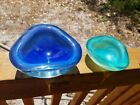 2 Murano Italy Glass Bowl Dish Ashtray Cobalt Blue  Green Paperweight AS IS