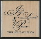 STAMPABILITIES rubber stamp JOY LOVE PEACE 02 wood mounted
