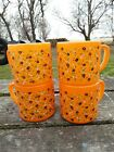 Vintage Orange Federal Glass Coffee Cups D Handle Milk Glass with Flowers