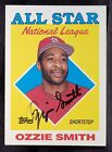 1988 Topps OZZIE SMITH Auto SIGNED Baseball CARD St Louis Cardinals Team 80s vtg
