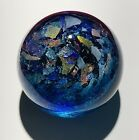 Handmade Dichroic Glass Paperweight by Janet Wolery BLUE CAP SPARKLES 3 1 4