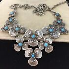 VINTAGE FORGET ME NOT PANSY FLOWER CABOCHON TURQUOISE GLASS SNAKE EYES NECKLACE