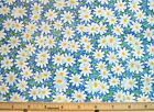 Cotton Quilting Sewing Fabric Fabric Traditions Daisies on Blue 1 Yd