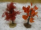 Lot of 2 LEMAX VILLAGE HOUSE ACCESSORIES - MINI ORANGE COLORED FALL TREES