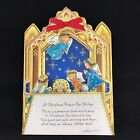 Vtg Xmas Prayer Card Die Cut Nativity Angel 1960s Mother Fold Out Ambassador