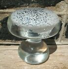 VINTAGE MURANO MUSHROOM ART GLASS PAPERWEIGHT CLEAR W WHITE CLOUD SPECKLED TOP
