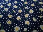 White Daisies  Polka Dots on Navy Fabric Scrap Quilt Sew