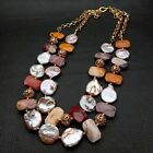 Natural Freshwater Cultured Purple Keshi Pearl Mookaite Nugget Necklace 22