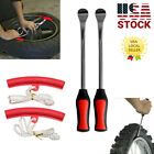 Red Tire Spoon Lever Iron Tool Kit For Motorcycle Bike With Wheel Rim Protectors