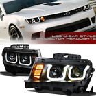 For 2014 2015 Chevy Camaro Matte Black DRL LED U Bar Halo Projector Headlights