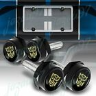 Black Car License Plate Frame Screw Bolt Cap Cover Set For Acura Cadillac Audi