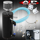 Racing Engine Motor Oil Catch Can Baffled Reservoir Breather Filter Black Tank