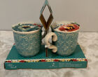 New The Pioneer Woman Ceramic Salt and Pepper Shakers Melody Teacup 2 pc Set
