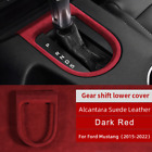 Car Gear Shift Knob Cover Trim Suede Leather W Abs For Ford Mustang 2015-2020