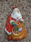 Vintage Hallmark Ornament Tin Santa with Toys Gifts Sack Approx 4.5 inches tall