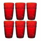 Glass Tumblers12 oz Embossed Design Drinking Glasses Set of 6 Red Red 2