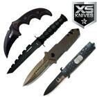 4pc Set Tactical Fixed Blade Hunting Karambit Assisted Open Pocket Knife