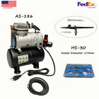 Airbrush Kit with Mini Compressor Gravity Siphon Feed for Crafts Hobby Art US