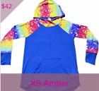 LuLaRoe XS Amber hooded sweatshirt blue rainbow pride multicolor NWT