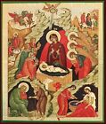 Nativity of Christ Icon Sorrounded By Angels and Saints 8 1 4 Inch