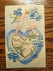 Best Wishes Heart With Violets Vintage Post Card Posted