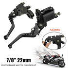Motorcycle 7/8'' 22MM Front Brake & Clutch Master Cylinder Levers Adjustable