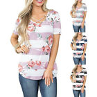 Women Summer Round Neck Floral Casual Short Sleeve Stripe Tunic Blouse T Shirt