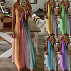 Women Summer Floral V Neck Maxi Dress Sleeveless Boho Suspenders Party Sundress