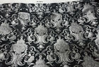 Chenille BAROQUE UPHOLSTERY Fabric Jacquard Damask 54 wide color Silver Black