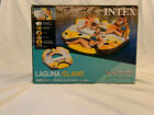 Laguna Island Pool Float Tube Raft Built In Cooler Intex Heavy Duty 4 Person NEW