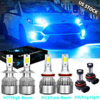 For Ford Fusion 2006 2016 Ice Blue 8000K LED Headlights + Fog Light Bulbs Kit