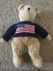 VINTAGE RETIRED LARGE TY BEANIE BABY CURLY GRAND OLD FLAG BEAR WTH RED HEART TAG