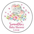 12 Elephant Girl Baby Shower Stickers Favors Labels tags 25 floral flowers