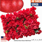 12xArtificial Rose Flower Wall Panel Wedding Backdrop Photo Background Venue Red