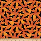 Spooky Vibes Fabric Halloween Bats on Orange OOP Quilt Shop Quality Cotton