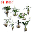 Set of 8 Wall Hanging Planter Clear Glass Plant Pot Home Wall Decor Flower Vase