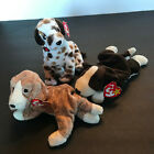 TY Bundle Lot of 3 Beanie Baby Dog puppy lot Bruno, Sniffer and Bo plush BB#1