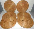 Rattan Wicker Charger Plate Holders 135 Round Brown Woven Placemats Set of 6