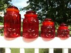 US GLASS SMITH RED MOON AND STAR CANISTER JAR SET