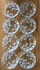 Rare Vintage Set Of 8 Clear Glass Salad Dessert Plates Frosted Strawberries