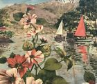 49 x 20 Vintage Barkcloth Tapestry Scenic BoatsVilliage  Flowers Fabric 1672