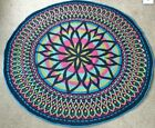 Handmade Round Rainbow Stained Glass Style Blanket Knitted yeyafang